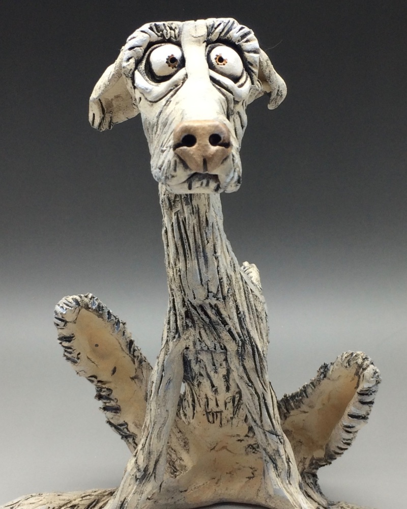Deerhound Dog Sculpture - Ceramic