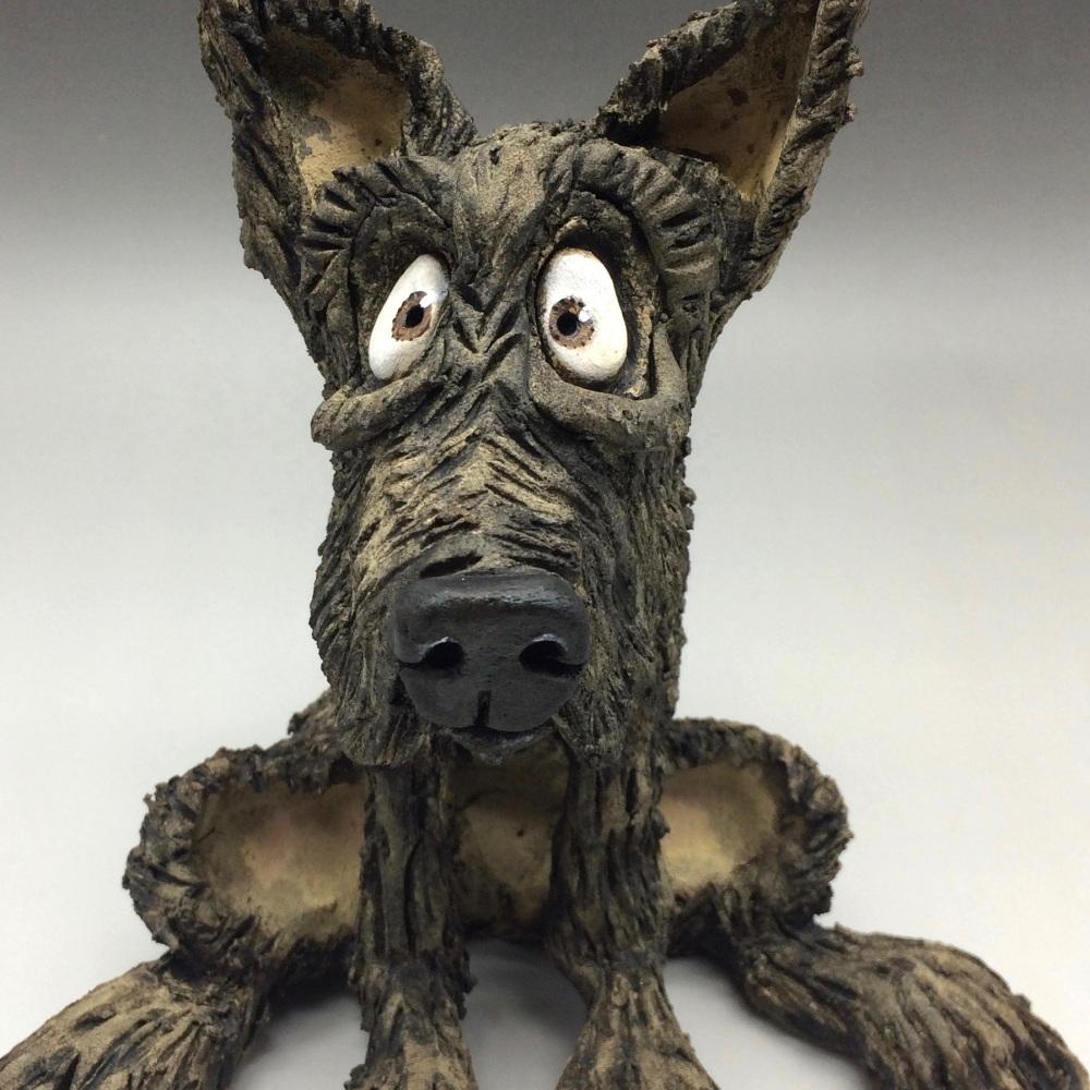 Black Terrier Sculpture - Ceramic