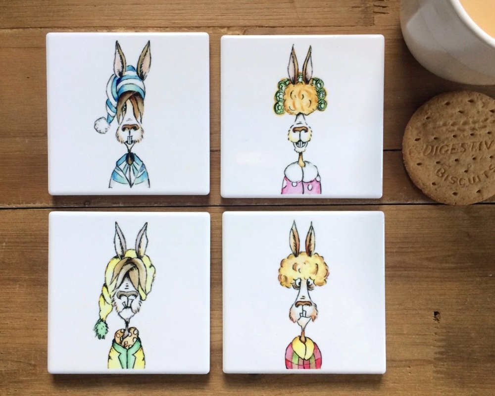 Llama Coasters Ceramic, Llamas in Pyjamas