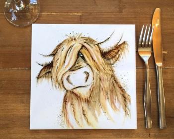 Highland Cow Placemat, Trivet Tile