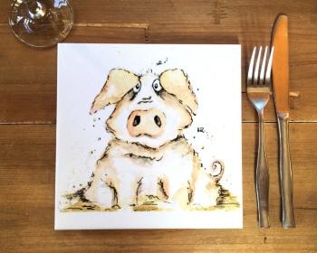 Pig Placemat, Trivet Tile