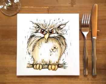 Owl Placemat, Trivet Tile