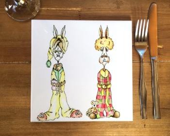 Llamas in Pyjamas Placemat, Trivet Tile