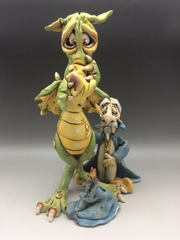 Dragon and Wizard Sculpture
