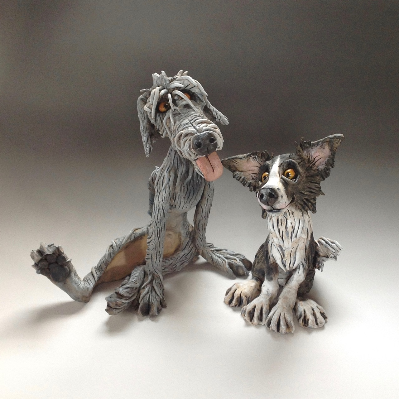 Wolfhound And Collie Dog Sculptures Ceramic