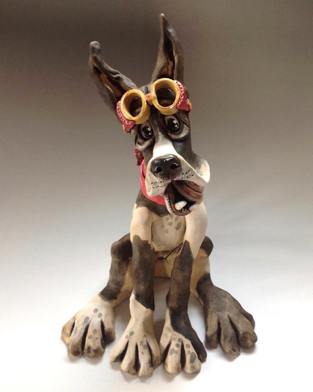 Great Dane Dog Sculptures Ceramic