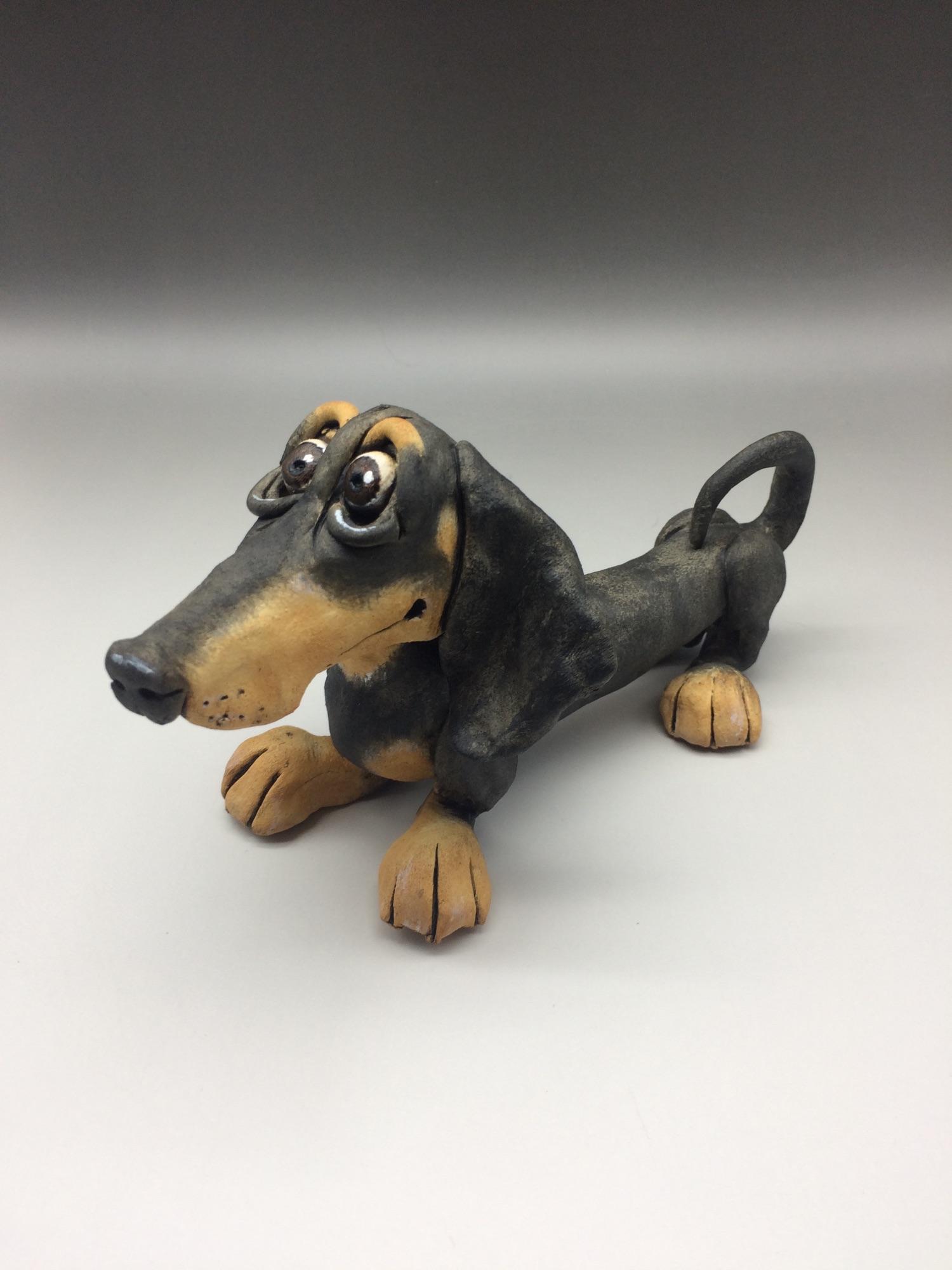 Dachshund Dog Sculpture Ceramic