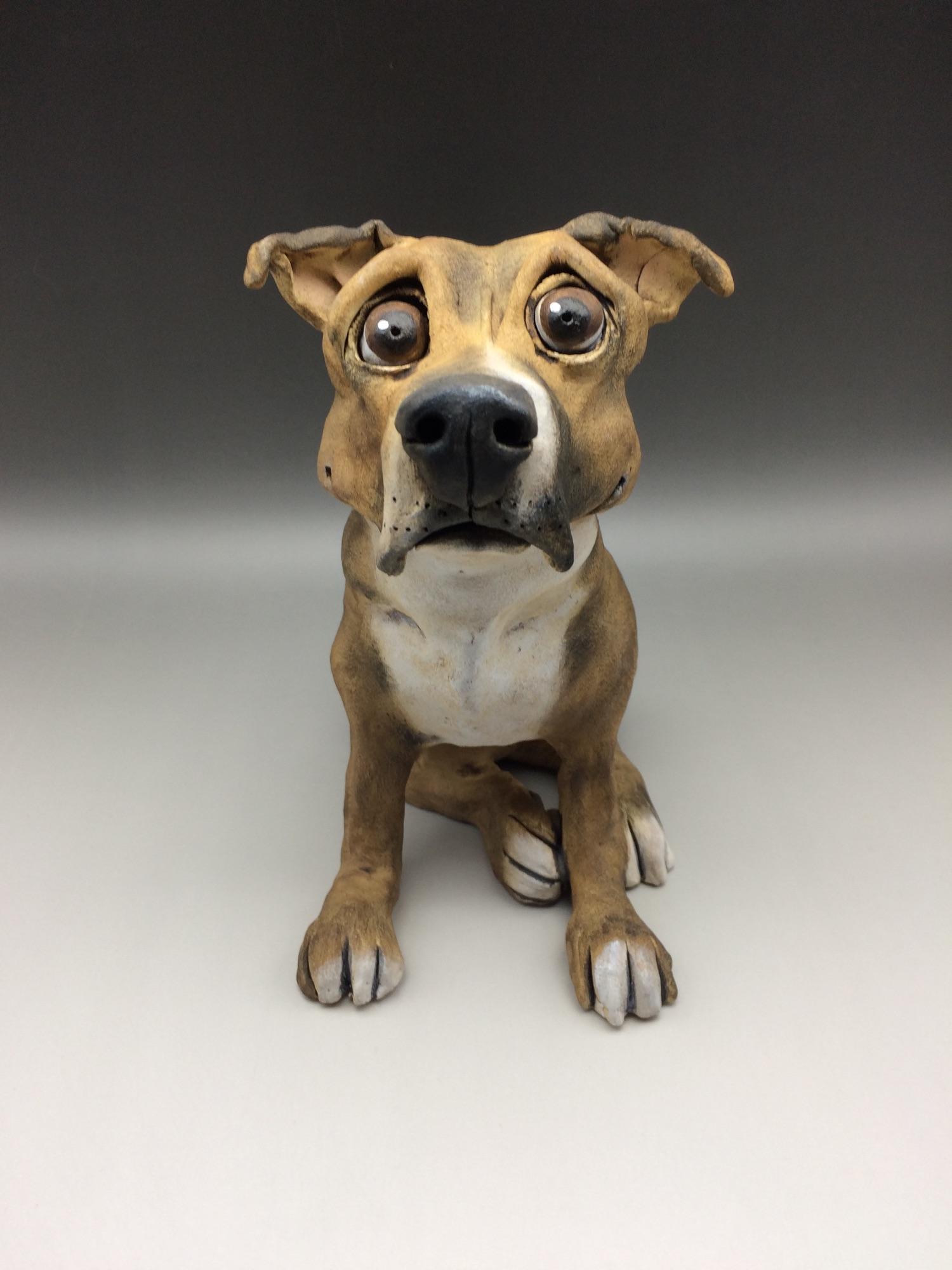 Staffordshire Bull Terrier Dog Sculpture Ceramic