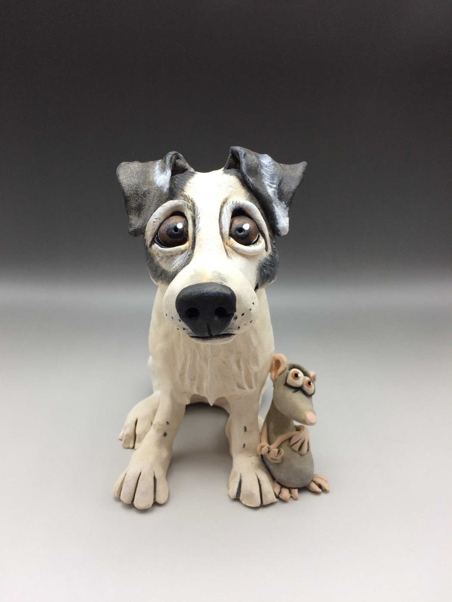 Jack Russell Terrier Dog Sculpture Ceramic