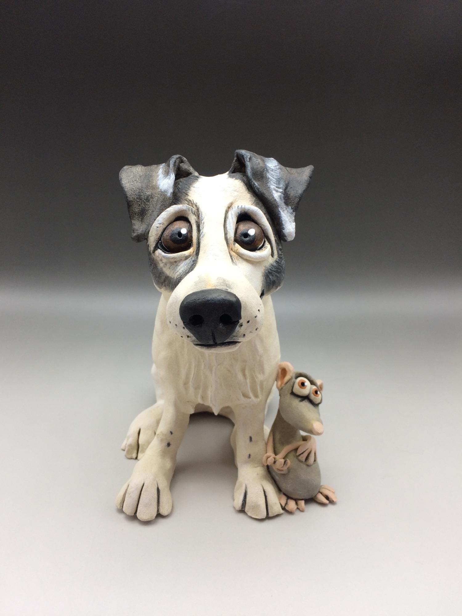 Jack Russell Terrier Dog Sculpture Ceramic