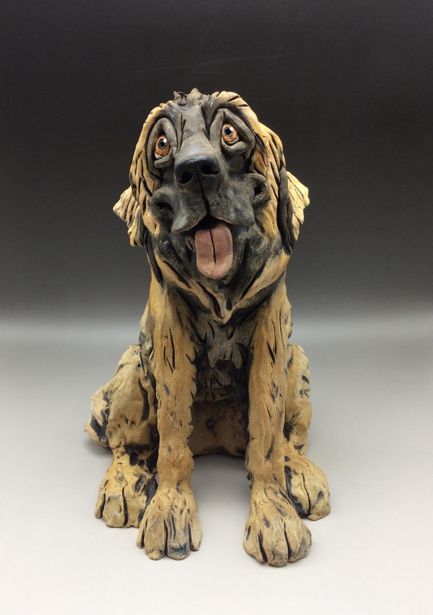 Leonberger Dog Sculpture Ceramic