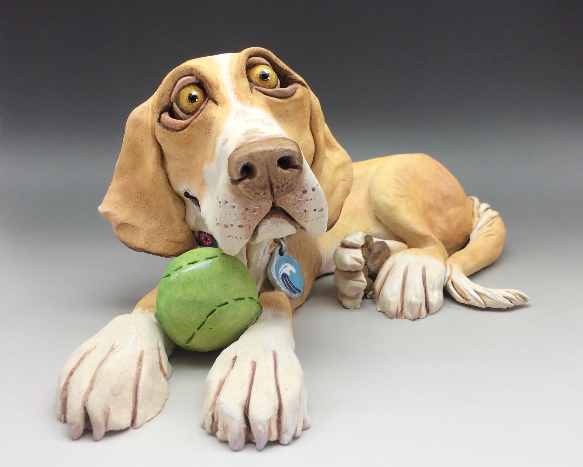 Lab Cross Dog Sculpture Ceramic