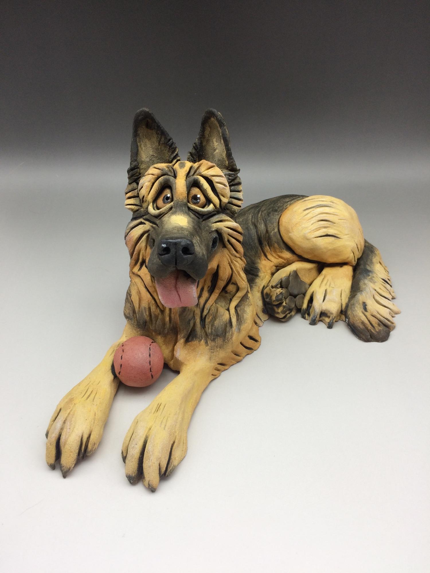 Alsatian, German Shepherd Dog Sculpture Ceramic