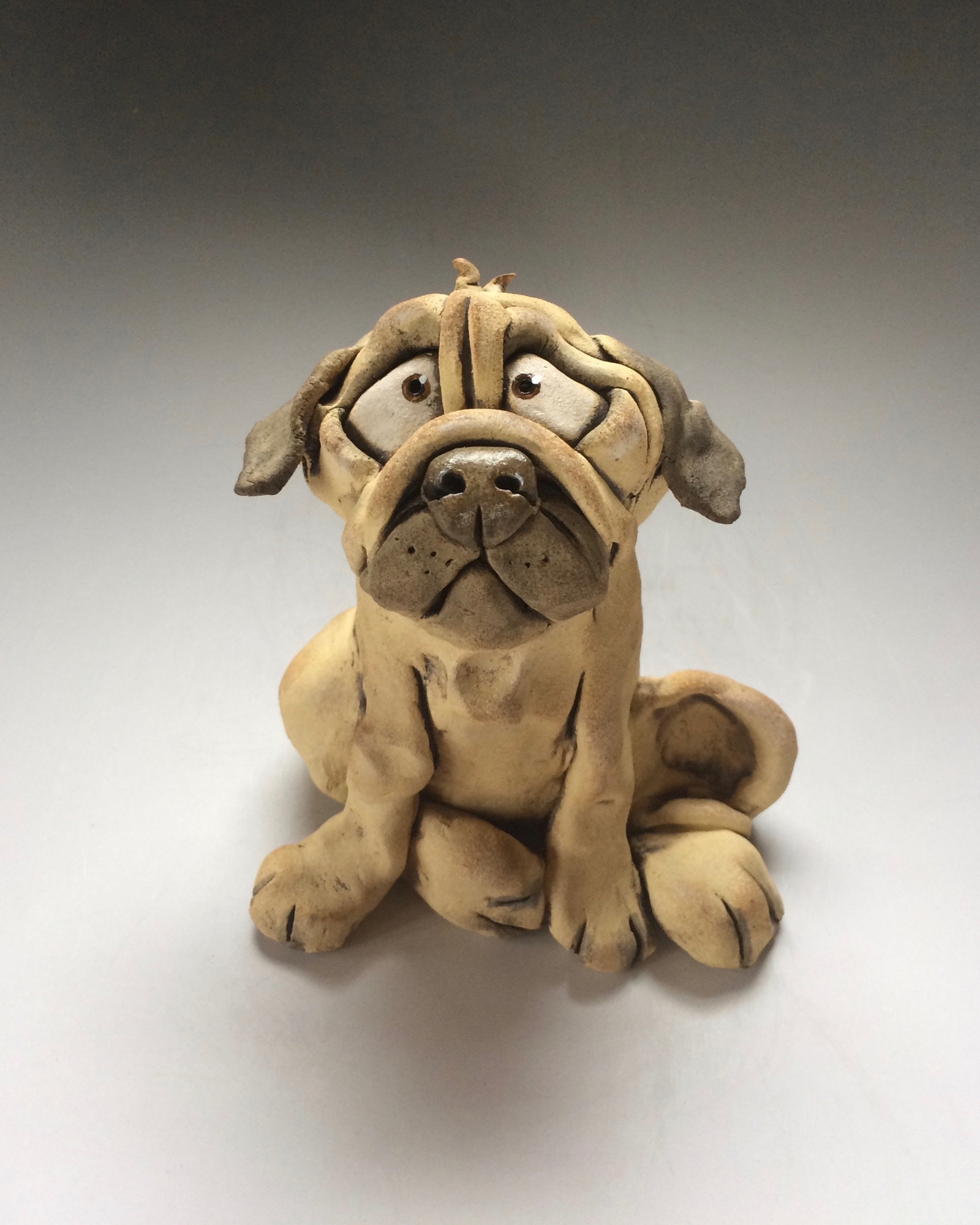 Pug Dog Sculpture Ceramic