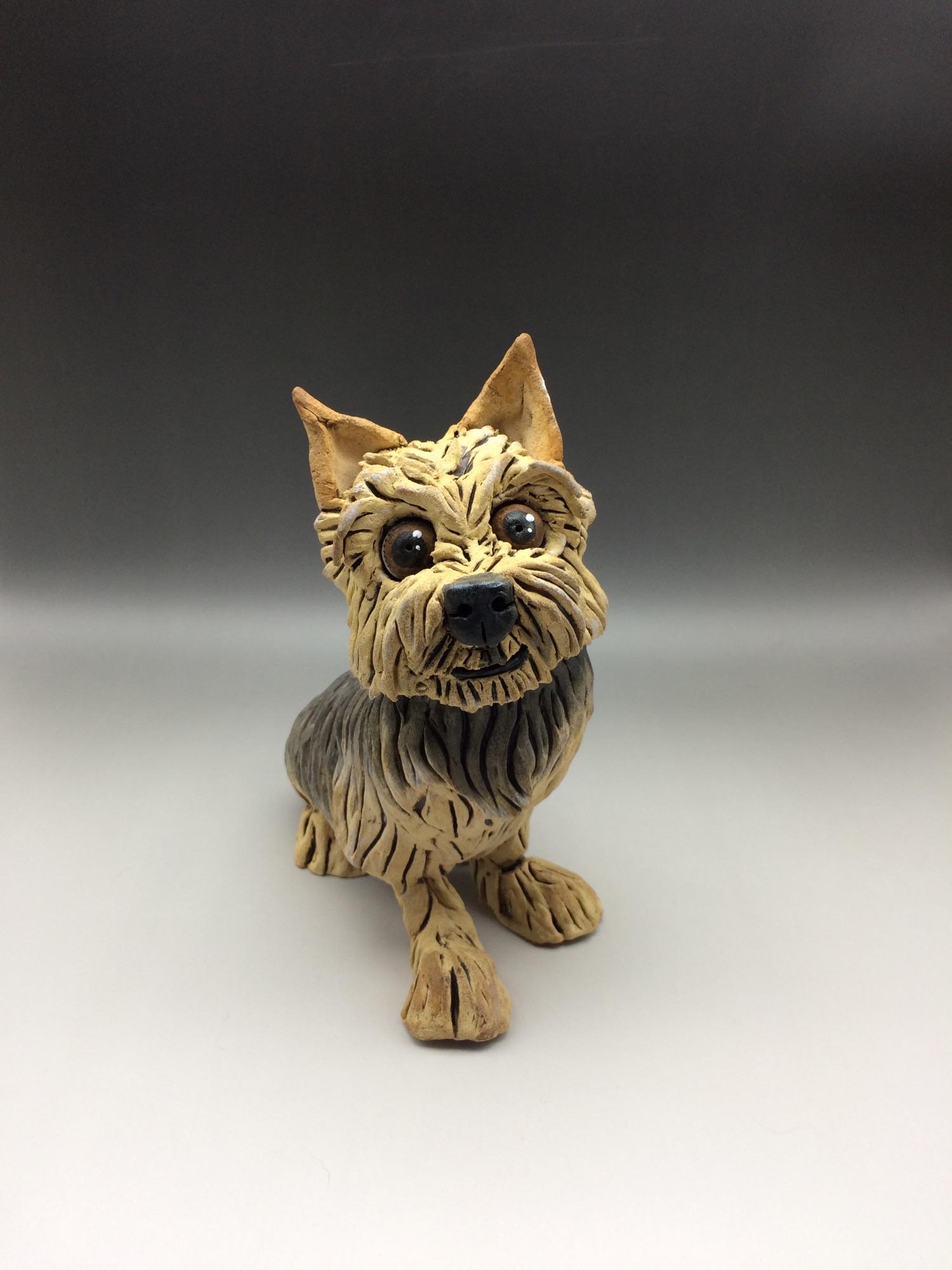 Yorkshire Terrier Dog Sculpture Ceramic
