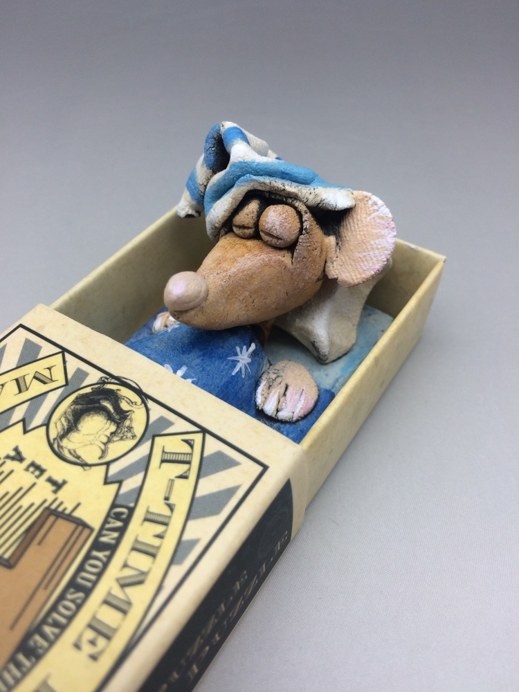 Mouse in a Matchbox Sculpture - T - Time Puzzle