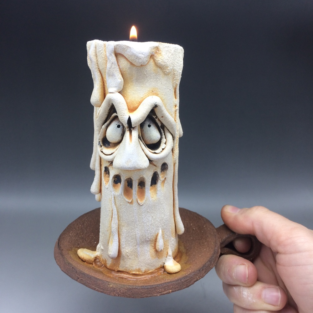 Grumpy Candle Tea Light Holder, 'Gomez'