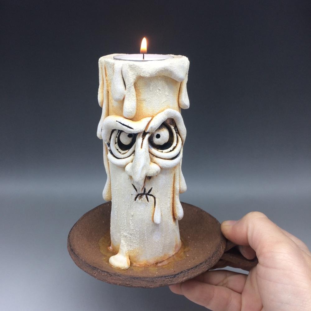 RESERVED - Grumpy Candle Tea Light Holder, 'Pugsley'