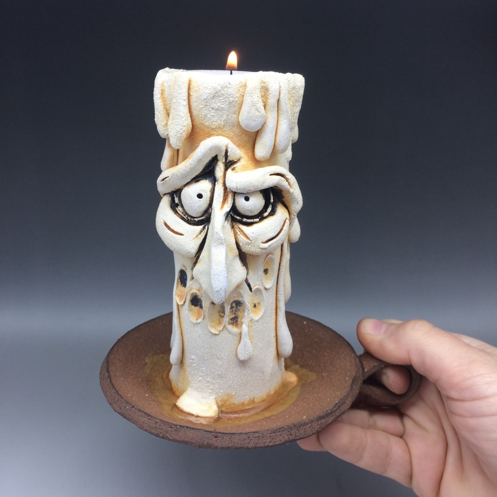 Grumpy Candle Tea Light Holder, 'Thing'