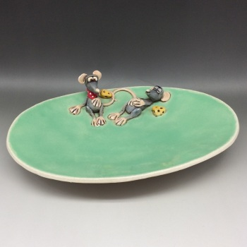Cheese Serving Platter or Dish , Mouse Design - Ceramic Pottery