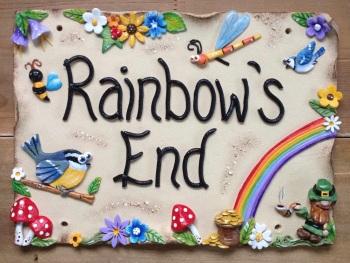 House Sign Ceramic - Rainbow design
