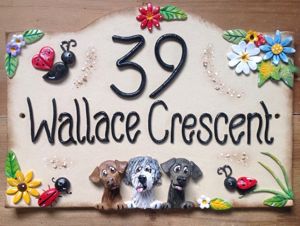 House Sign Ceramic - Ladybirds Design
