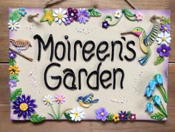 Garden Sign,  Hummingbird Design