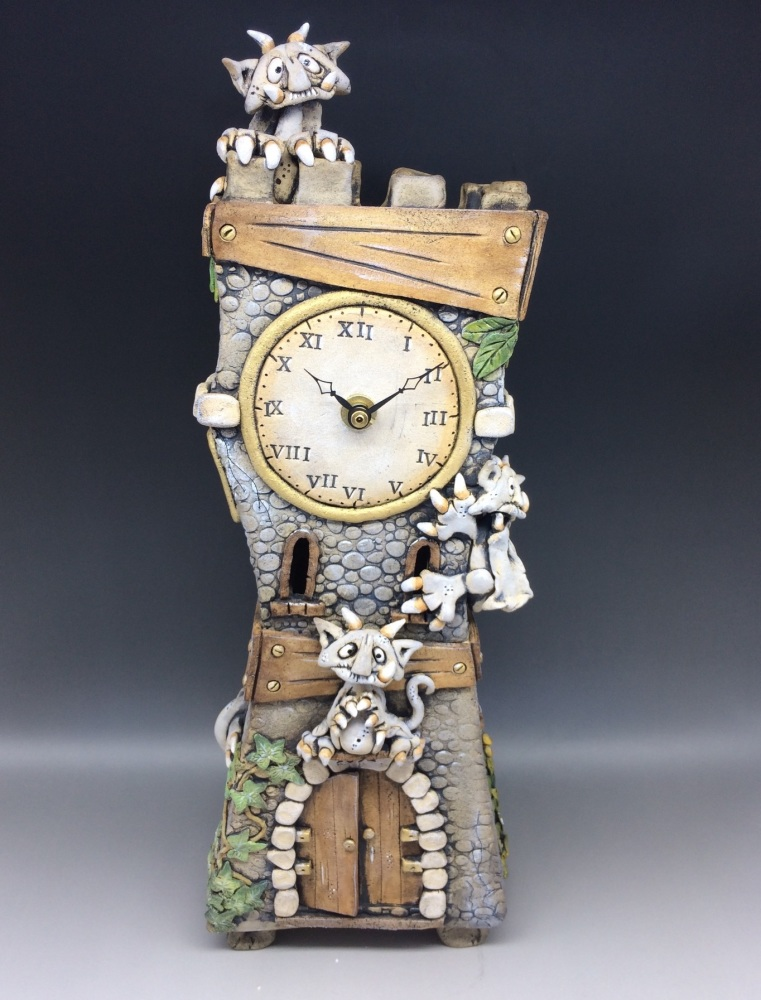 Gargoyle Towers Mantel Clock
