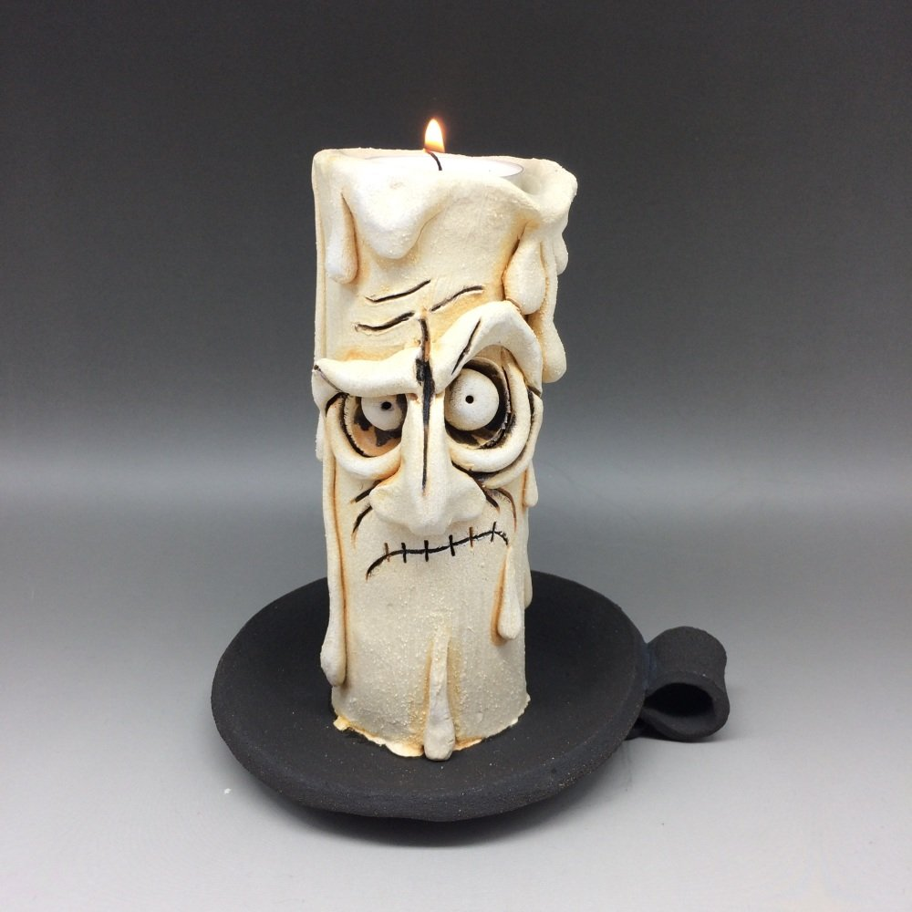 Grumpy Candle Tea Light Holder, 'Dusty'