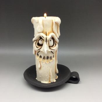 Grumpy Candle Tea Light Holder, 'Lucky'