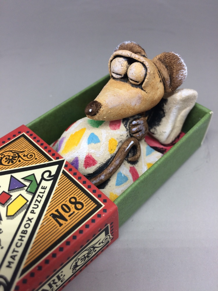 Mouse in a Matchbox Sculpture - Ceramic