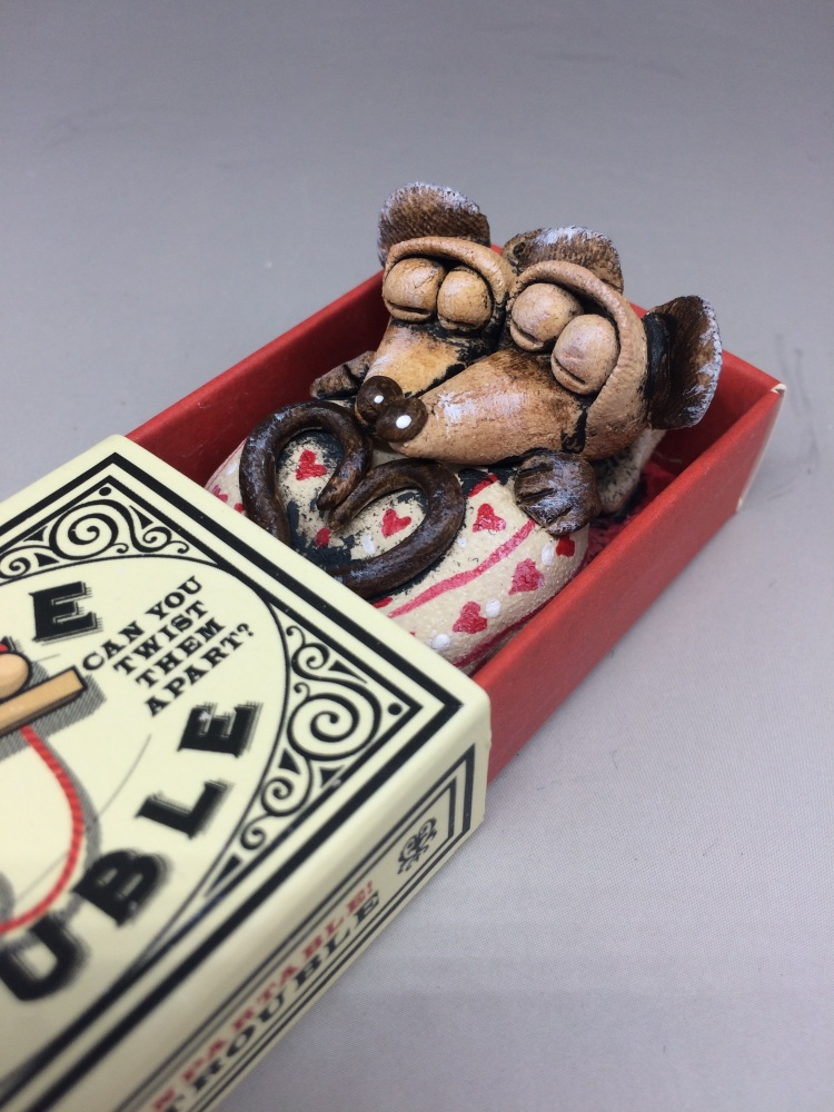 Mouse in a Matchbox Sculpture - Double Trouble