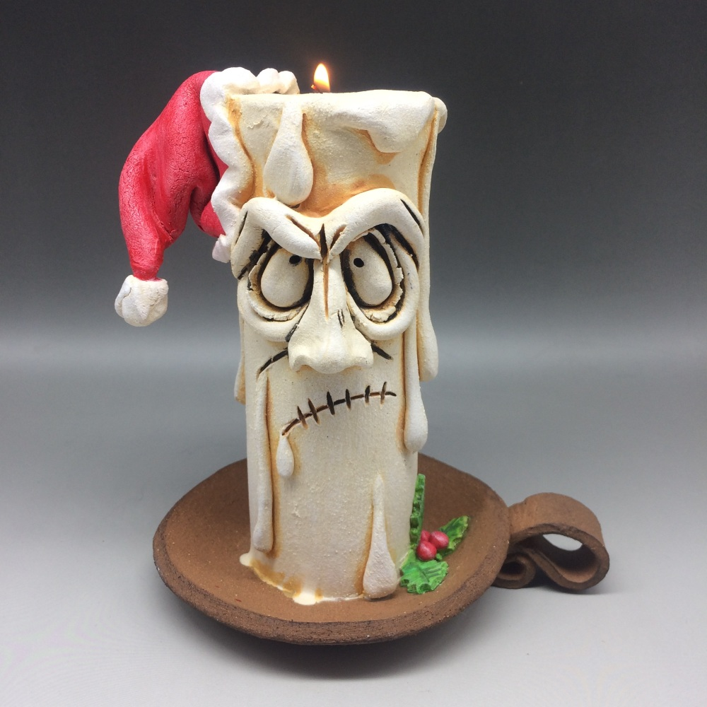 Christmas Grumpy Candle Tea Light Holder, 'Jasper'