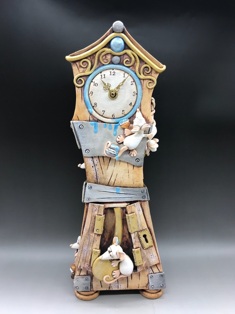 Mouse Grandfather Clock, Ceramic Pottery Mantel Clock