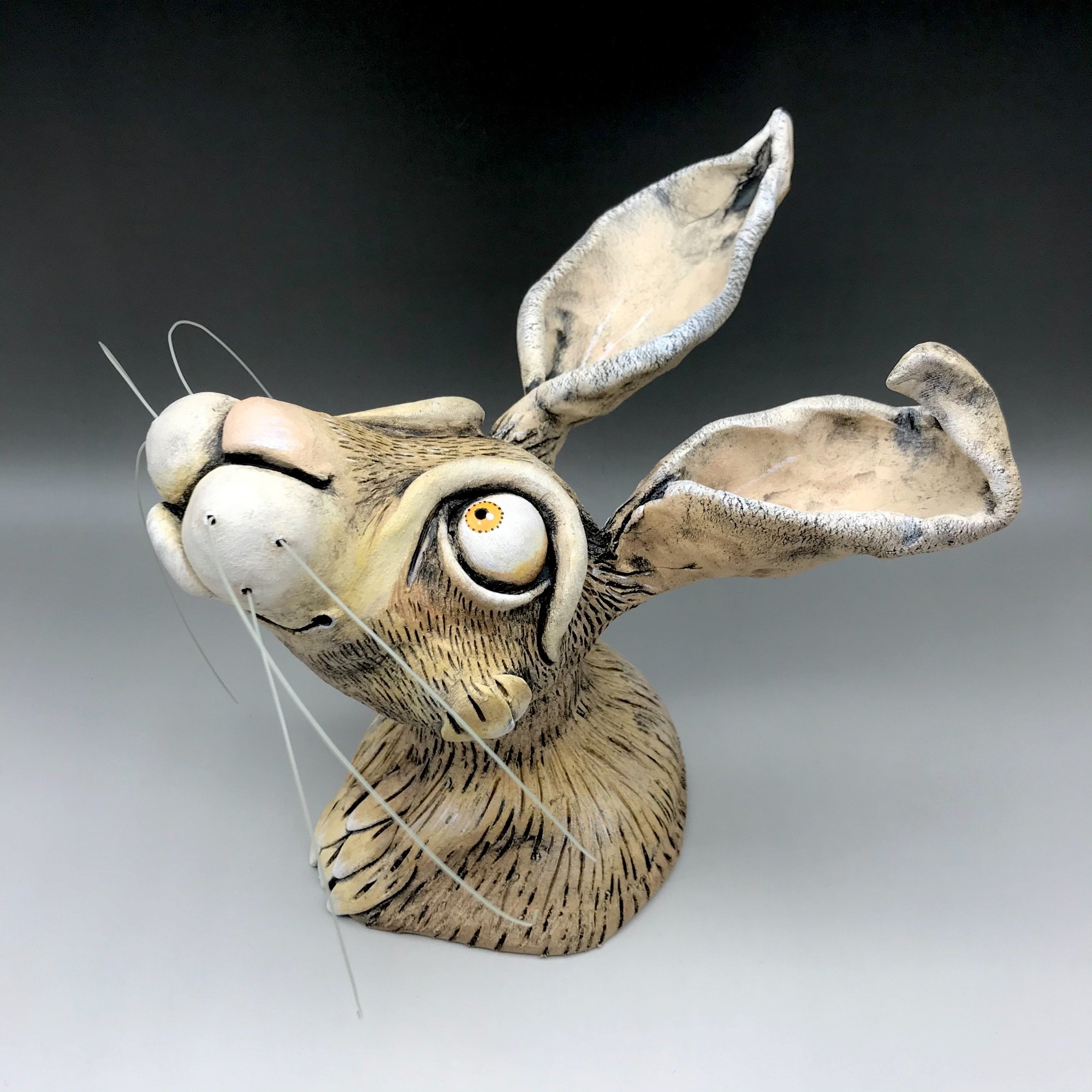Hare wall sculpture ceramic