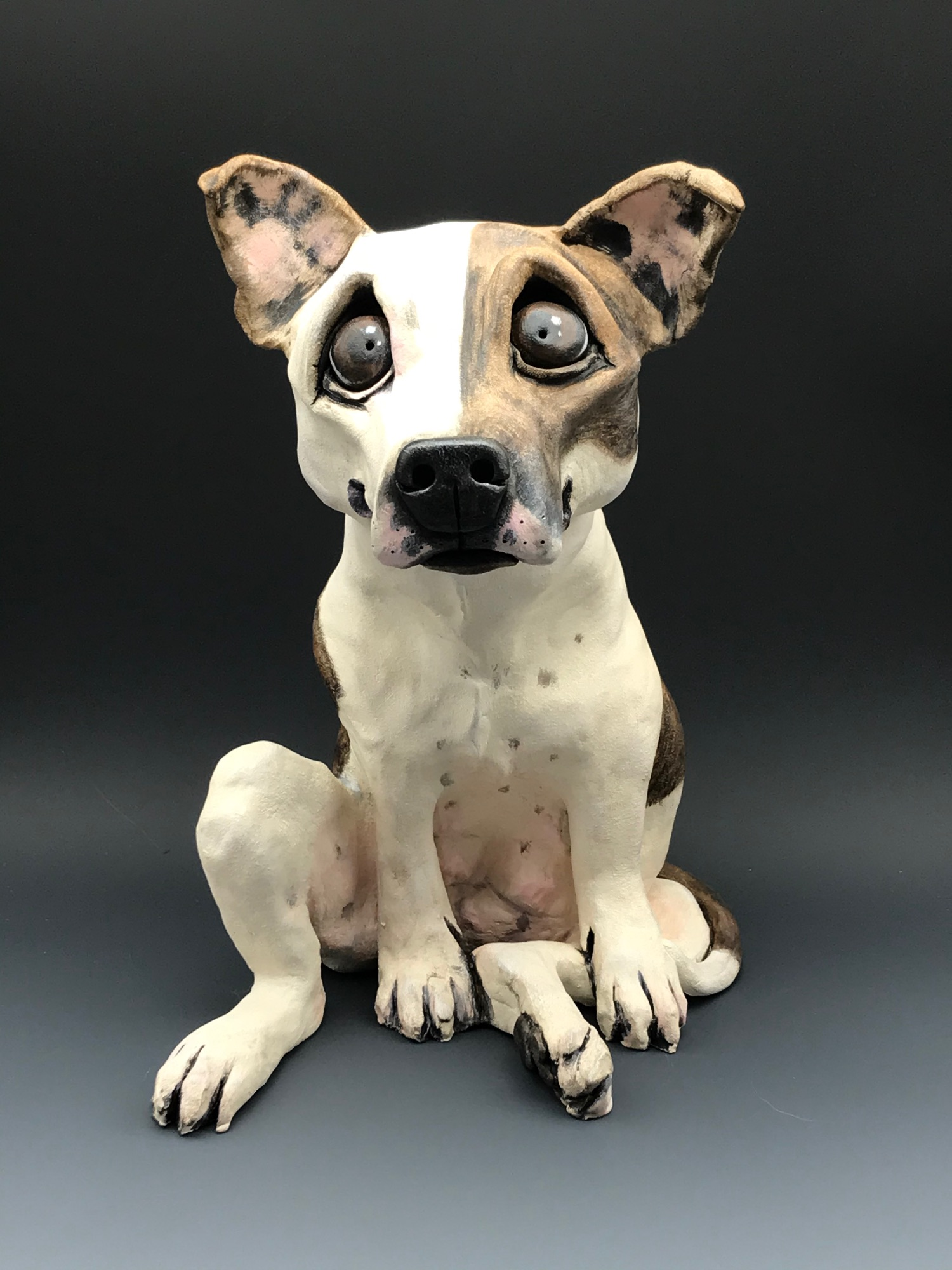 Staffy Dog Sculpture Ceramic