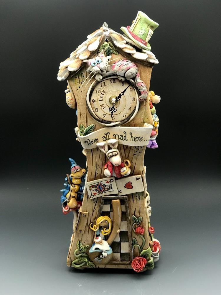 Alice in Wonderland Grandfather Clock, Ceramic Pottery Mantel Clock