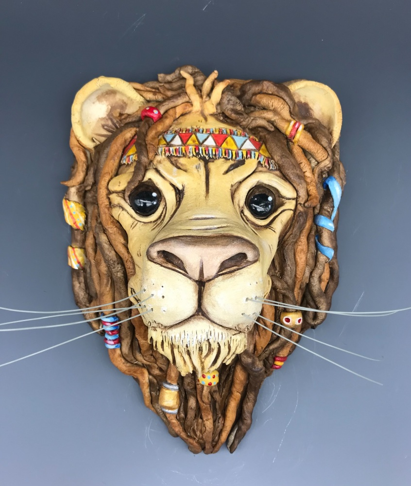 Marley the Lion Wall Sculpture, Ceramic