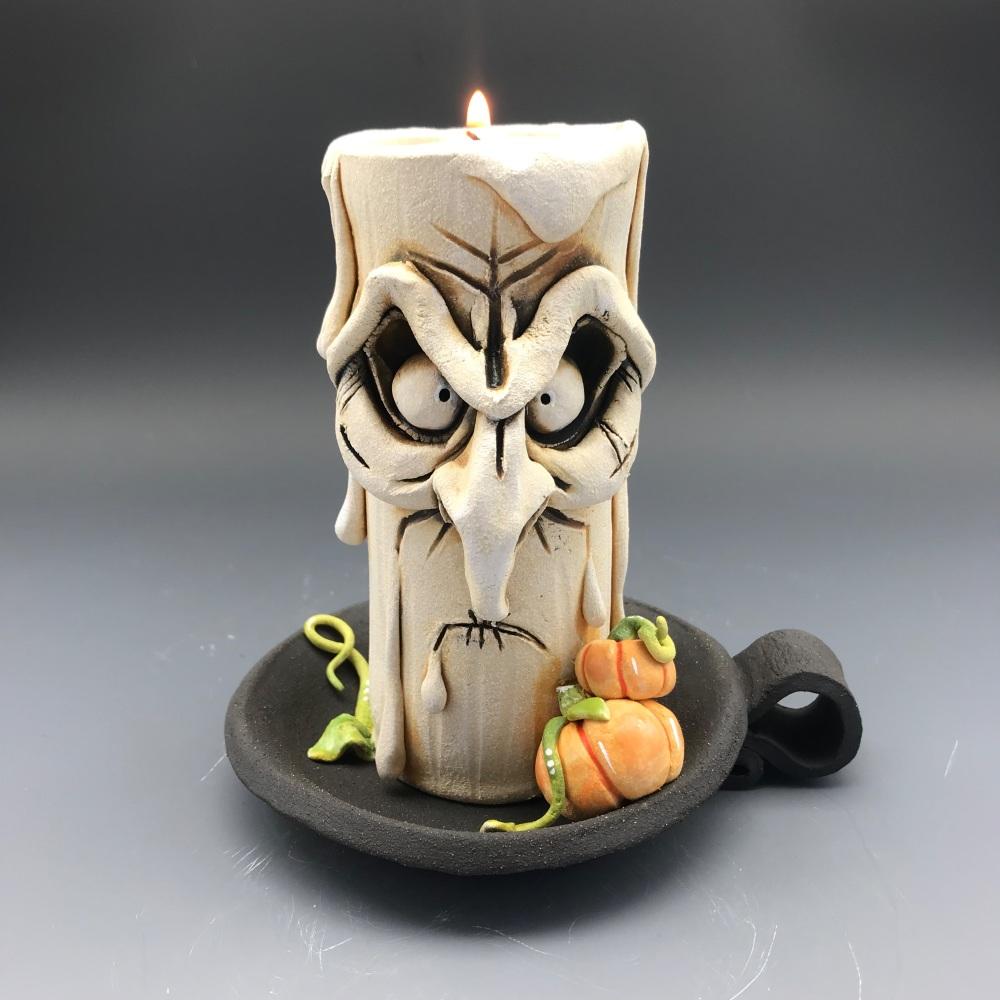 Halloween Grumpy Candle Tea Light Holder, 'Freddy'