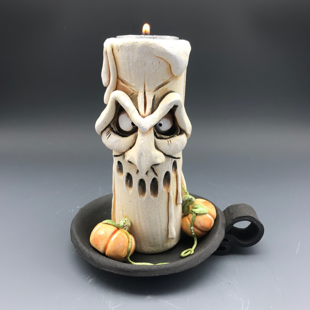 Halloween Grumpy Candle Tea Light Holder, 'Michael'