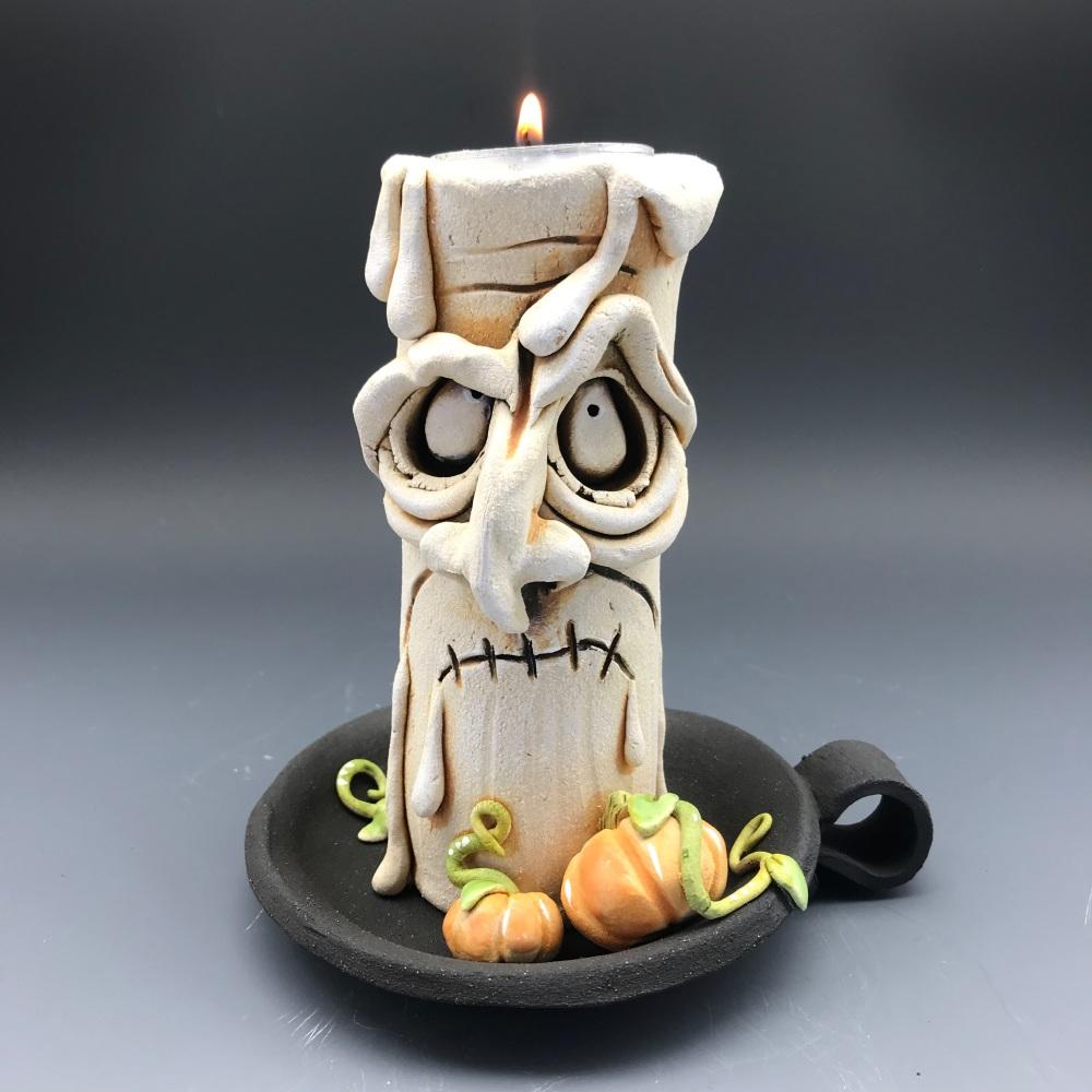 Halloween Grumpy Candle Tea Light Holder, 'Jason'