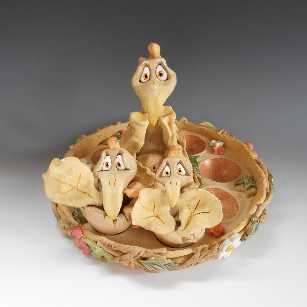 Birds Nest Egg Basket Pottery Ceramic Sculpture