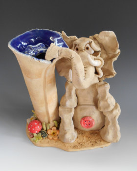 Ernest the Elephant Vase - Ceramic Sculpture