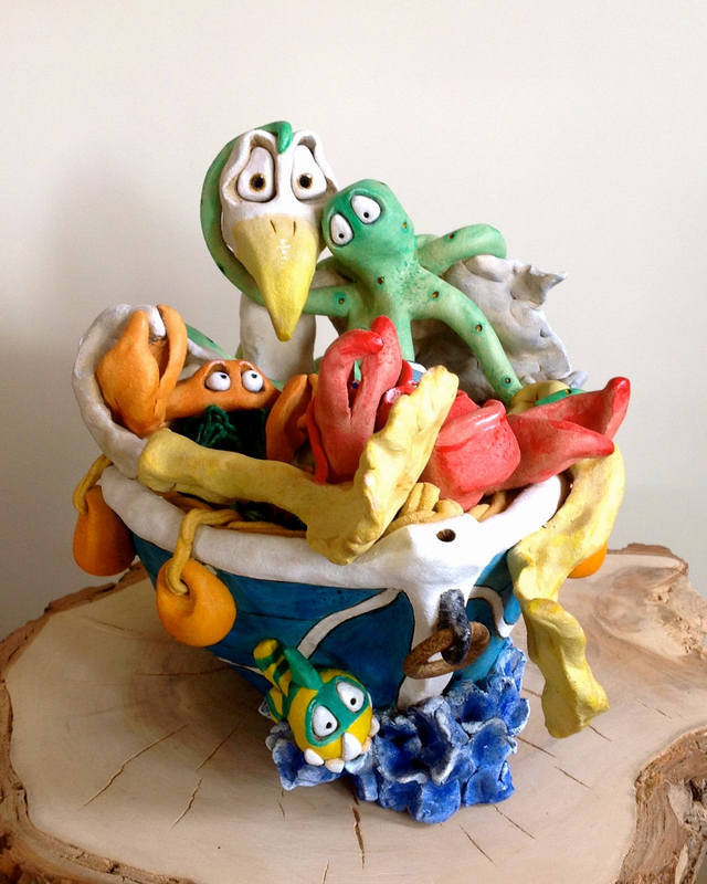 Seagull Sculpture Ceramic Pottery