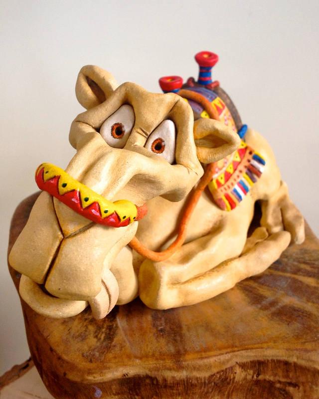 Camel sculpture ceramic stoneware
