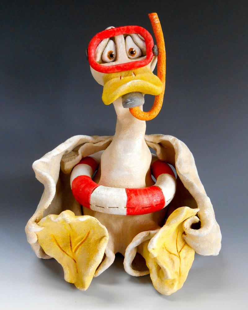 Ernie the Duck - Ceramic Sculpture