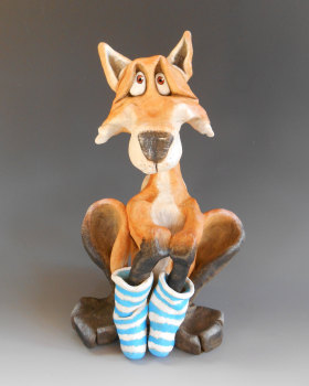 Fox in Socks - Ceramic Sculpture