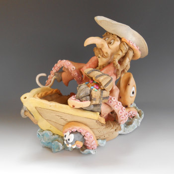 Pirate and Kraken - Ceramic Sculpture
