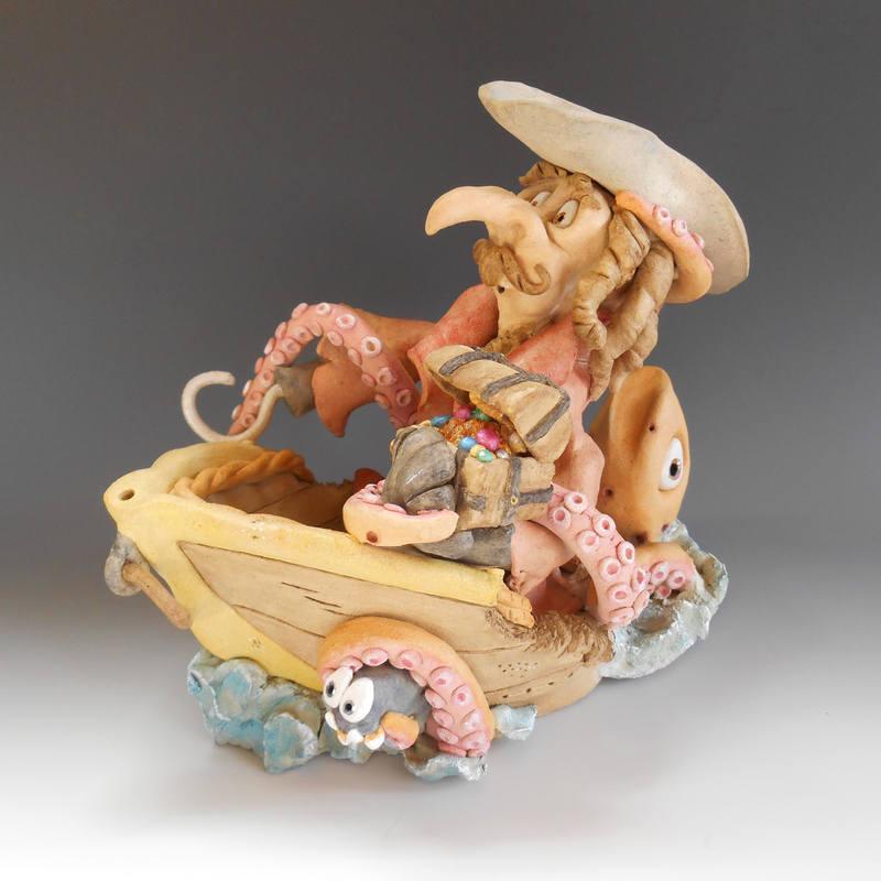 Pirate and Kraken sculpture ceramic stoneware