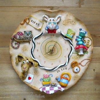 Ceramic Wall Clock - Alice in Wonderland Design